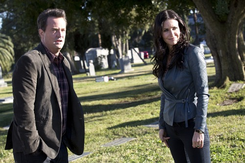 "Matthew Perry as Ryan King on ""Go On,"" with guest star, Courteney Cox. Courtesy photo"