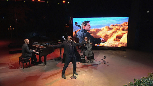 Courtesy photo The Piano Guys perform at Red Butte Garden in a special that's airing more than 700 times in March on PBS stations across the country.