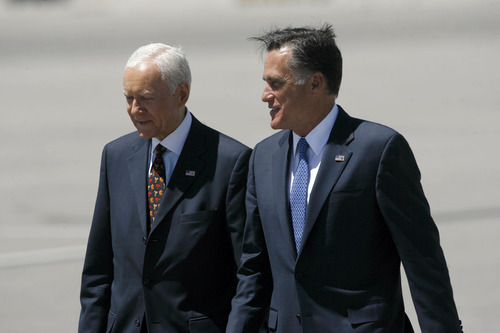 Francisco Kjolseth  |  Tribune file photo Sen. Orrin Hatch (left) welcomes Republican presidential candidate Mitt Romney as he arrives in Salt Lake City on Friday, June 8, 2012. Romney is once again visiting Utah in June to huddle with some of his biggest donors and two White House hopefuls.