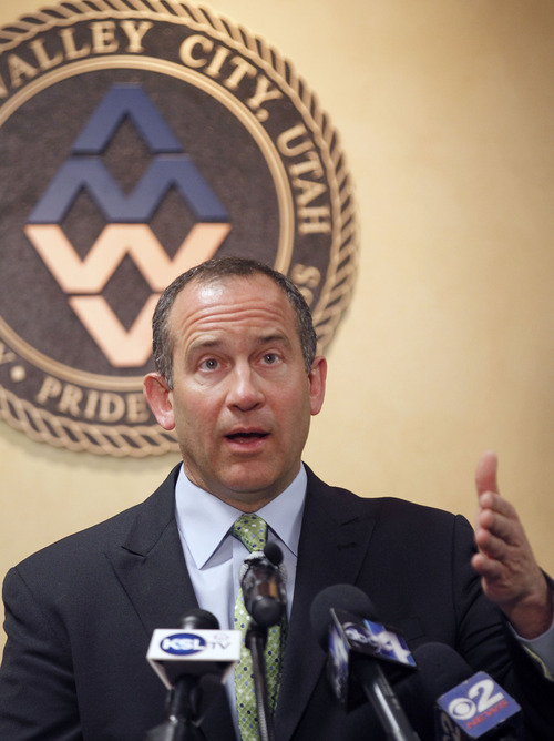 Al Hartmann  |  The Salt Lake Tribune West Valley City Manager, Wayne Pyle speaks at a news conference Wendesday March 27 in conjunction with the police department.