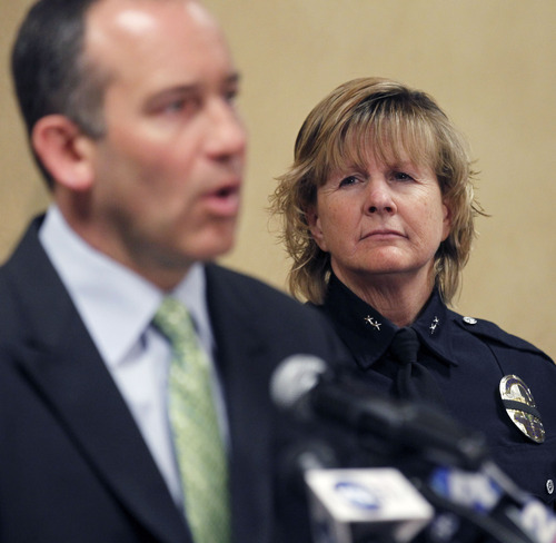 Al Hartmann  |  The Salt Lake Tribune Acting West Valley City Police Chief Anita Schwemmer, right,  listens to West Valley City Manager  Wayne Pyle speaks at a news conference Wendesday March 27 .