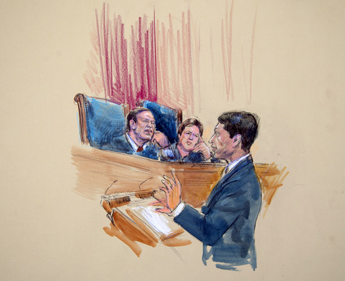 This artist rendering shows Deputy Solicitor General  Sri Srinivasan addressing the Supreme Court, including Justices Samuel Alito, left, and Elena Kagan, right, in Washington, Wednesday, March 27, 2013, as the court heard arguments on the Defense of Marriage Act (DOMA). (AP Photo/Dana Verkouteren)