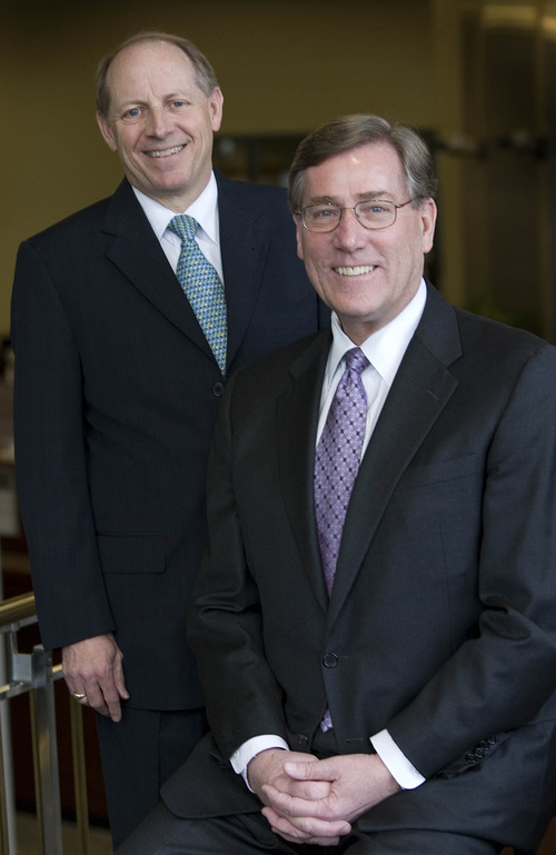 Paul Fraughton  |  The Salt Lake Tribune Zions Bancorp CEO Harris Simmons and Zions Bank CEO Scott Anderson received the annual Giants in the City award from the chamber of commerce.