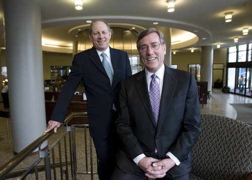 Paul Fraughton  |  The Salt Lake Tribune Zions Bancorp CEO Harris Simmons and Zions Bank CEO Scott Anderson received the annual Giants in the City award from the Salt Lake Chamber.
