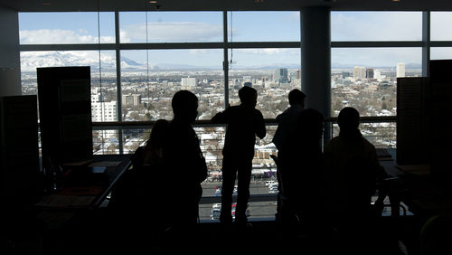 Steve Griffin | The Salt Lake Tribune   Elementary school students in the Salt Lake Valley Science and Engineering Fair get a view of the city during judging at University of Utah's Rice-Eccles Stadium in  Salt Lake City, Utah Thursday March 21, 2013.