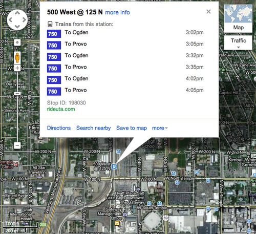 FrontRunner information from Google Maps.