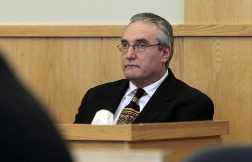 Glenn Howard Griffin listens to opening arguments in the his capital murder trial before Judge Ben Hadfield in Utah's 1st District Court in Logan, Utah Wednesday, October 29, 2008. Griffin, along with Wade Garrett Maughan, is being charged in the 1984 murder 22-year-old Bradley Newell Perry in the nearby town of Brigham City.  Photo by Jason Olson