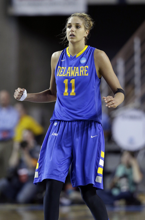 Delaware guard/forward Elena Delle Donne looks on during the second half of a second-round game against North Carolina in the women's NCAA college basketball tournament in Newark, Del., Tuesday, March 26, 2013. (AP Photo/Patrick Semansky)