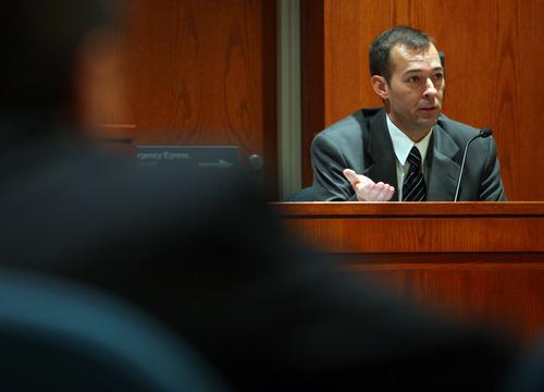 Layton Police Sergeant Jeff Roderick takes the witness stand during the first day of his preliminary hearing for Nathan Sloop Wednesday, March 27, 2013 at 2nd District Court in Farmington, Utah. Roderick was an investigator for the case.  (NICK SHORT/Standard-Examiner)