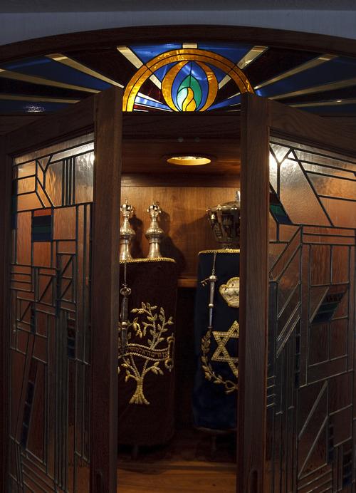 Leah Hogsten  |  The Salt Lake Tribune Congregation Brith Sholem's two 1800s-era Torahs from Eastern Europe.