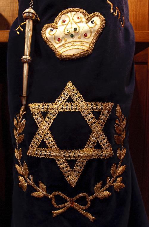 Leah Hogsten  |  The Salt Lake Tribune Congregation Brith Sholem's 1800-era Torah.