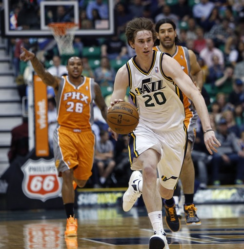 Steve Griffin | The Salt Lake Tribune    Utah's Gordon Hayward charges up the court during first half action in the Jazz versus Suns NBA game at EnergySolutions Arena in Salt Lake City, Utah Wednesday March 27, 2013.
