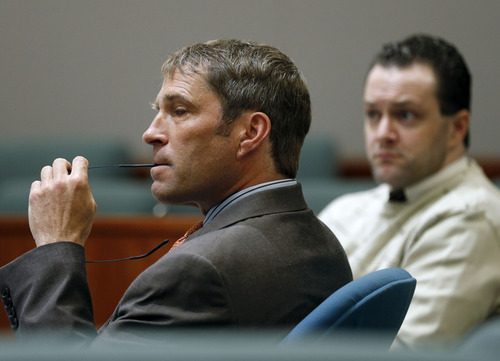 Al Hartmann  |  The Salt Lake Tribune Defense lawyer Scott Williams listens to witness testimony in Nathan Sloop's preliminary trial in 2nd District Court in Farmington Friday March 29.  Sloop, right, is charged with the May 2010 death of his stepson, 4-year-old Ethan Stacy.
