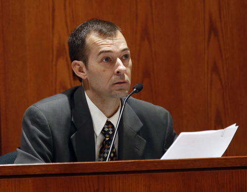 Al Hartmann  |  The Salt Lake Tribune Layton Police Sgt. Jeff Roderick tesitifies at Nathan Sloop's preliminary trial at 2nd Distirct Court in Farmington Friday March 29.  Sloop is charged with the May 2010 death of his stepson, 4-year-old Ethan Stacy.