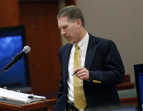 Al Hartmann  |  The Salt Lake Tribune Deputy Davis County Attorney David Cole questions witness at Nathan Sloop's preliminary trial at 2nd Distirct Court in Farmington Friday March 29.  Sloop is charged with the May 2010 death of his stepson, 4-year-old Ethan Stacy.