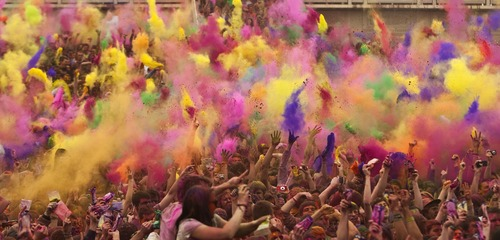 Photo by Chris Detrick | The Salt Lake Tribune  Revelers throw colored Indian scented powders during the Holi Festival of Colors at the Sri Sri Radha Krishna Temple in Spanish Fork on March 26, 2011.  The festival returns Saturday, March 30, 2013.