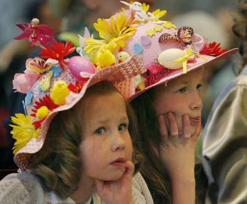 Tribune file photo Wearing their decorated Easter bonnets, sisters Ava, 5, and Emma McClure, 9, listen to the Rev. Marti Zimmerman's sermon during a past Easter service at Christ United Methodist Church.