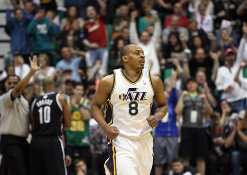 Kim Raff  |  The Salt Lake Tribune The crowd cheers as Utah Jazz point guard Randy Foye (8) makes a 3-point shot during the second half against the Brooklyn Nets at EnergySolutions Arena in Salt Lake City on March 30, 2013.  The Jazz won the game 116-107.