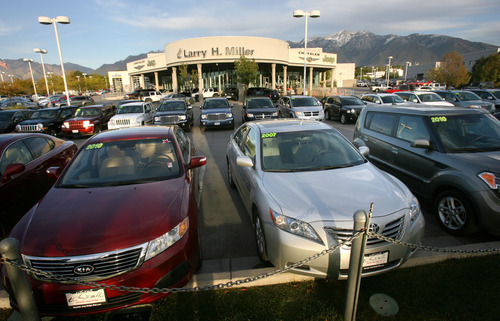 Steve Griffin  |  The Salt Lake Tribune   Larry H. Miller car dealership in the Automall in Sandy, Utah Wednesday, October 12, 2011.