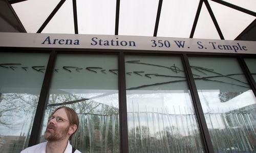 Steve Griffin | The Salt Lake Tribune   David Graham waits at the Arena TRAX Station in Salt Lake City, Utah Monday April 1, 2013. Fares for the train have gone up.