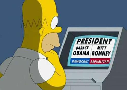 """Courtesy photo Homer ponders who to vote for in an episode of """"The Simpsons."""""""