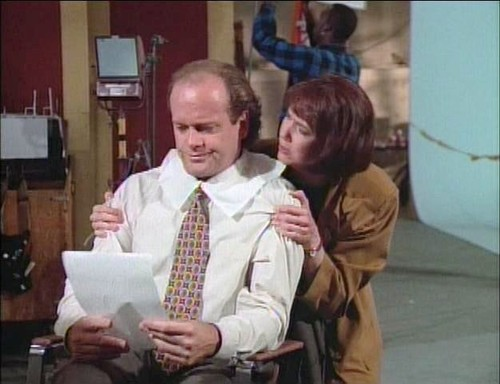 """Courtesy photo Frasier (Kelsey Grammer) replaces his unethical agent, Bebe (Harriet Sansom Harris), with a Mormon in an episode of """"Frasier."""""""