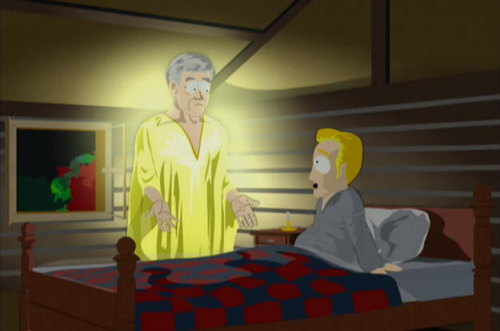 """Courtesy photo The angel Moroni appears to Joseph Smith in an episode of """"South Park."""""""