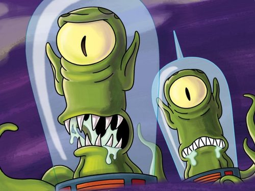 """Courtesy photo Homer mistakes Kang and Kodos for Mormon missionaries in an episode of """"The Simpsons."""""""