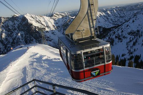 Scott Sommerdorf   |  The Salt Lake Tribune The Snowbird tram takes Hidden Peak visitors back to the resort center after the resort hosted an Easter sunrise service at 11,000 feet of elevation on Hidden Peak, Sunday, March 31, 2013.