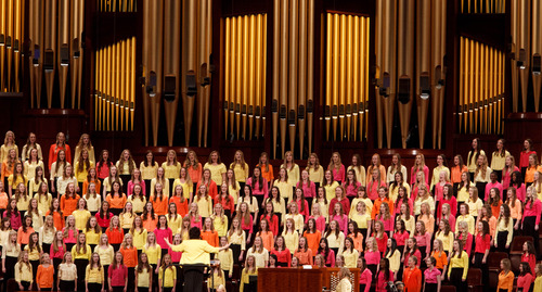 Trent Nelson  |  The Sale Lake Tribune A youth choir sings at the Church of Jesus Christ of Latter-day Saints' Young Women's conference, Saturday March 30, 2013 in Salt Lake City.