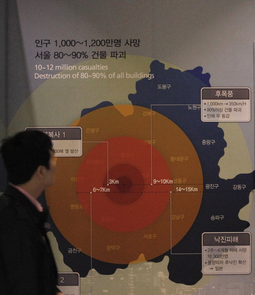 A man looks at the display showing possible damage if a 1 megaton class nuclear weapon is detonated in Seoul, at the Korea War Memorial Museum in Seoul, South Korea, Tuesday, April 2, 2013. North Korea vowed Tuesday to restart all mothballed facilities at its main Yongbyon nuclear complex, adding to tensions already raised by near daily warlike threats against the United States and South Korea.(AP Photo/Ahn Young-joon)