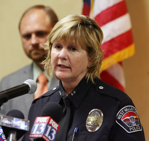 Steve Griffin | The Salt Lake Tribune Acting police chief, Anita Schwemmer, announces that West Valley City Police Department is requesting an independent investigation by the FBI during a press conference at police headquarters in West Valley City, Utah on Wednesday April 3, 2013. The investigation will look into corruption within the department's narcotics unit and a possible cover-up involving the Danielle Willard officer-involved shooting.