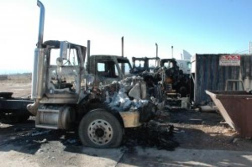 Fire destroyed four semi-trailer rigs near Cedar City. (Iron County Sheriff's Office photo)