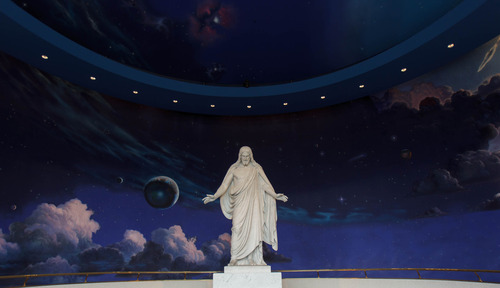 Trent Nelson  |  The Salt Lake Tribune Christus, a statue of Jesus Christ on display at The Church of Jesus Christ of Latter-day Saints' Temple Square Thursday March 7, 2013 in Salt Lake City