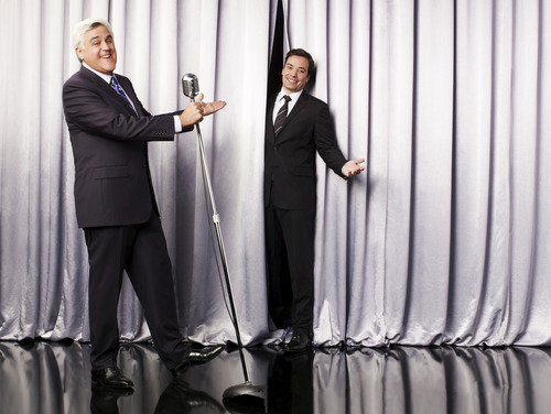 """This undated promotional image released by NBC shows Jay Leno, host of """"The Tonight Show with Jay Leno,"""" left, and Jimmy Fallon, host of """"Late Night with Jimmy Fallon,"""" in Los Angeles. NBC on Wednesday, April 3, 2013 announced its long-rumored switch in late night, replacing incumbent Jay Leno at """"The Tonight Show"""" with Jimmy Fallon and moving the iconic franchise back to New York. Leno will wrap up what will be 22 years of headlining the iconic late-night show in Spring 2014.  """"Saturday Night Live"""" producer Lorne Michaels will take over as producer of the new """"Tonight Show."""" (AP Photo/NBC, Andrew Eccles)"""