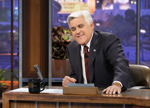 """This Nov. 5, 2012 photo released by NBC shows Jay Leno, host of """"The Tonight Show with Jay Leno,"""" on the set in Burbank, Calif.  NBC announced Wednesday, April 3, 2013 that Jimmy Fallon is replacing Jay Leno as the host of """"The Tonight Show"""" in spring 2014. (AP Photo/NBC, Paul Drinkwater)"""