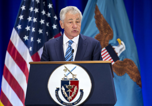 Defense Secretary Chuck Hagel speaks at the National Defense University at Fort McNair in Washington, Wednesday, April 3, 2013. Hagel warned of sharply deeper cuts to personnel, health care and weapons systems across his department, in order to put the brakes on spiraling costs and reshape the military for leaner budgets and new challenges.  (AP Photo/Manuel Balce Ceneta)