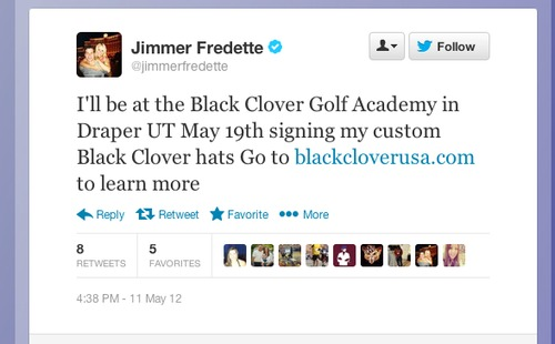 This tweet dated May 11, 2012, shows Sacramento Kings guard Jimmer Fredette promoting the company Black Clover. Fredette is suing the apparel company for failure to compensate him.