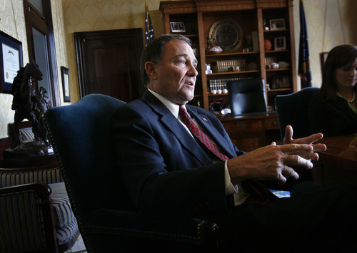 Scott Sommerdorf   |  The Salt Lake Tribune Utah Governor Gary Herbert discusses his decision on Snake Valley water issues in his office, Wednesday, April 3, 2013.