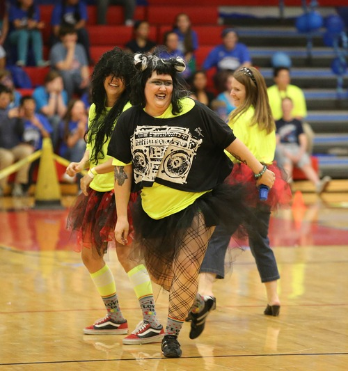 Paul Fraughton  |   Salt Lake Tribune Ami Burton  joined with other faculty members to perform a lip-sync routine at West High School's Spirit Bowl, part of the school's Spirit Week activities.