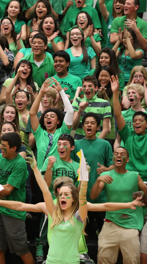 Paul Fraughton  |  Salt Lake Tribune West High students cheer for their teams at the school's Spirit Bowl, part of West High School's Spirit Week activities.