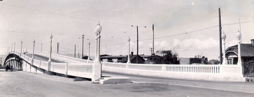 This 1937 concrete continuous tee beam bridge was built in 1937 and was part of Provo's Center Street until just recently when it was destroyed and replaced with the I-15 Core Project in Utah County. (Courtesy UDOT)