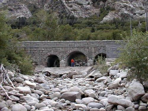 This 1935 concrete continuous arch-deck bridge spans the mouth of Little Cottonwood Canyon and is appreciated for its rustic appearance. (Courtesy UDOT)