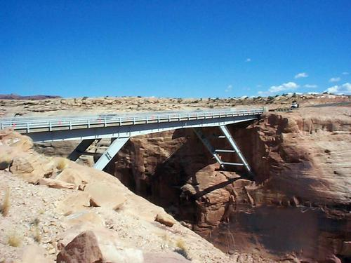 The White Canyon Bridge 6.1 miles east of the Hite Marina is a steel continuous bridge built in 1965.  (Courtesy UDOT)