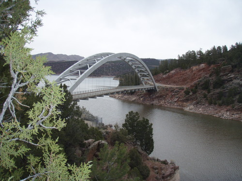The Cart Creek Bridge in Daggett County near Flaming Gorge Reservoir, built in 1962, was at 550 feet the longest span built in the 1950s and 1960s. (Courtesy UDOT)