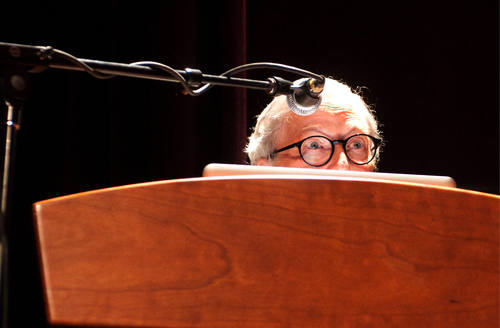 In this April 27, 2011 photo, Roger Ebert speaks to a gathering for the Thirteenth Annual Roger Ebert's Film Festival at the Virginia Theater in Champaign, Ill. Ebert, the most famous and most popular film reviewer of his time who became the first journalist to win a Pulitzer Prize for movie criticism and, on his long-running TV program, wielded the nation's most influential thumb, died Thursday, April 4, 2013. He was 70. (AP Photo/The News-Gazette, Robert K. O'Daniell)