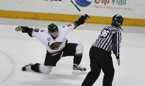 Scott Sommerdorf      The Salt Lake Tribune Grizzly forward Chris Donovan celebrates his first period goal on penalty shot to give the Grizzlies a 1-0 lead after one period in Game 3 of the ECHL playoffs at the Maverick Center, Friday, April 5, 2013.
