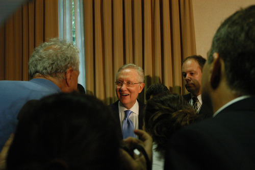 Matt Canham | Tribune file photo Senate Majority Leader Harry Reid was the featured speaker at last September's launch of the Utah Democratic Caucus during the National Democratic Convention in Charlotte, N.C. Activists on Thursday launched a new national group: LDS Democrats of America.