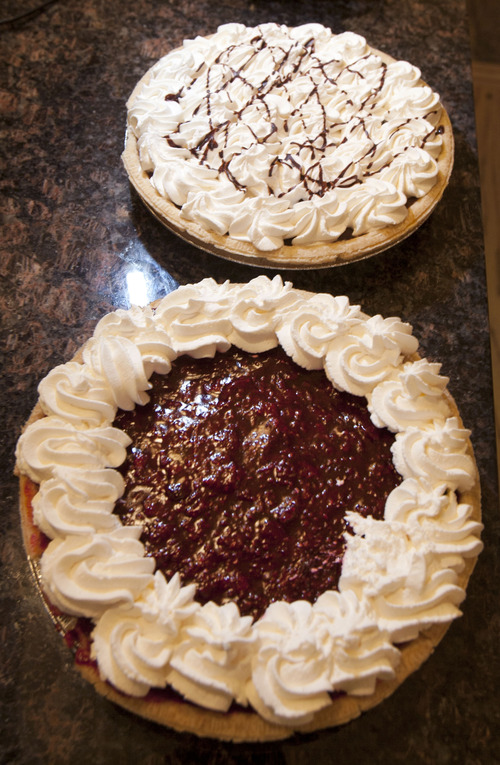 Steve Griffin | The Salt Lake Tribune   A chocolate cream pie and a raspberry cream pie at the Lion House in Salt Lake City, Utah Wednesday March 20, 2013.