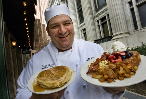 Scott Sommerdorf     The Salt Lake Tribune                       On March 19, The Lion House Pantry started serving breakfast weekdays from 7 a.m. to 10:30 a.m.  Sourdough pancakes are a specialty. The starter for the sourdough came to Utah with the pioneers, via the great-great-grandmother of chef David Bench. Here, Bench poses with the sourdough pancakes, left, and a full breakfast of scrambled eggs, bacon, French toast and hash browns.
